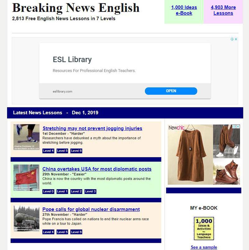Đừng bỏ lỡ những bài nghe trên Breaking News English