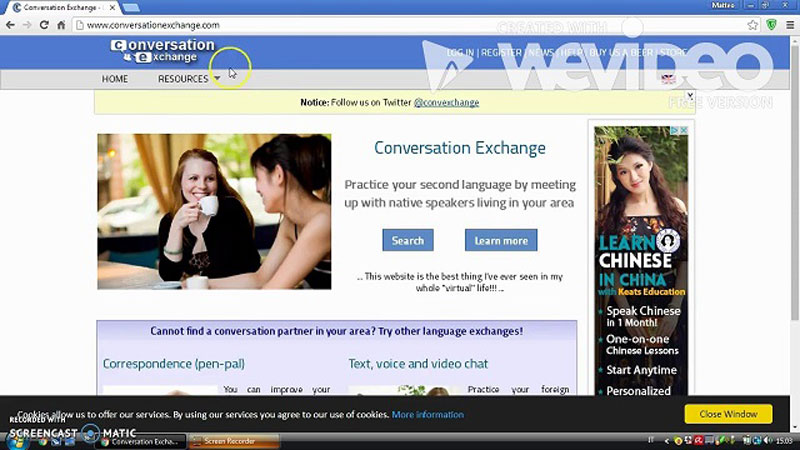 Giao diện trên Conversation Exchange