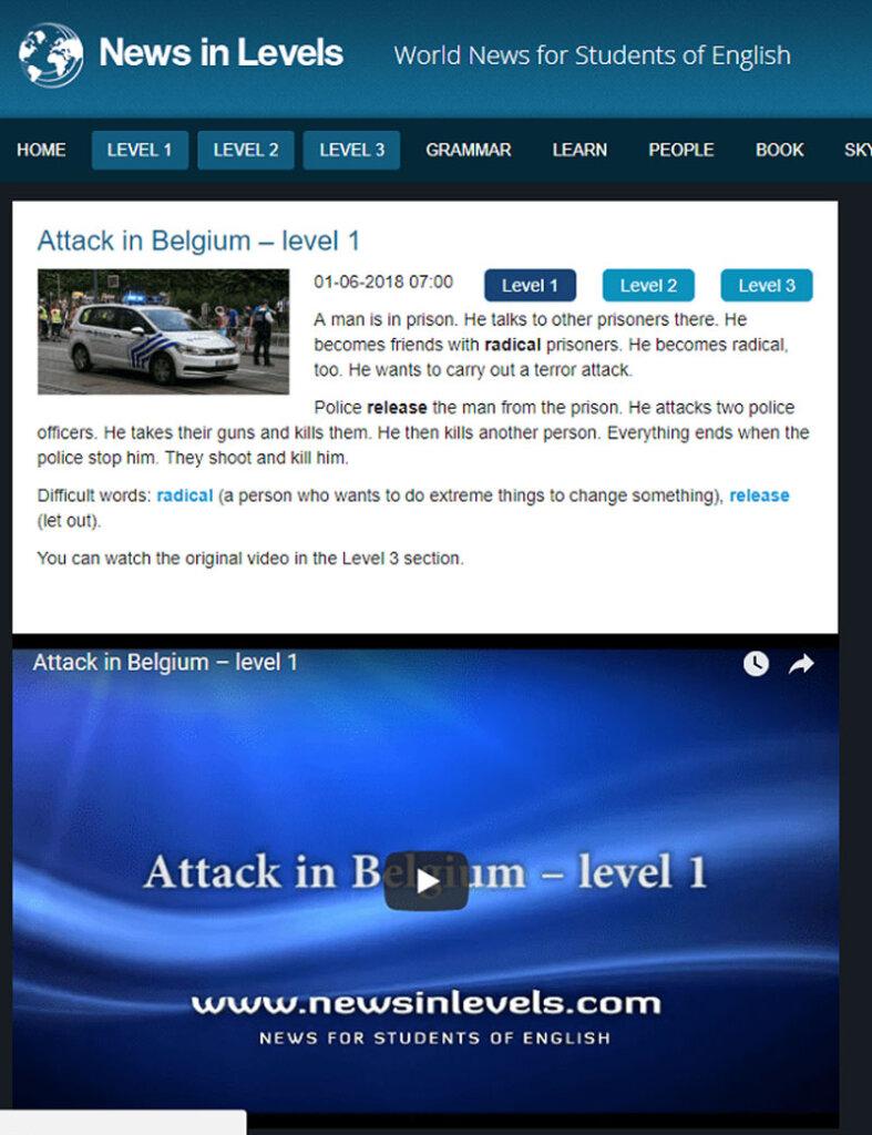 Làm quen phần nghe IELTS với website News in English