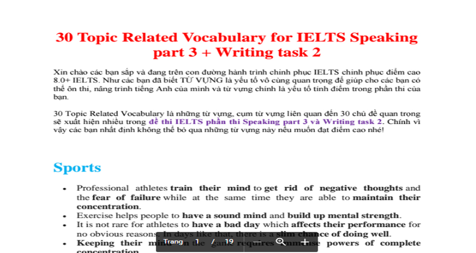 30 Topic Related Vocabulary for IELTS Speaking