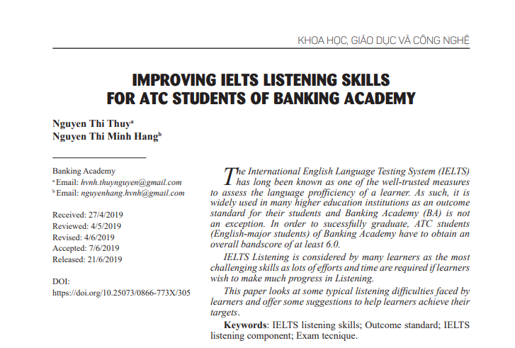 IMPROVING IELTS LISTENING SKILLS FOR ATC STUDENTS OF BANKING ACADEMY