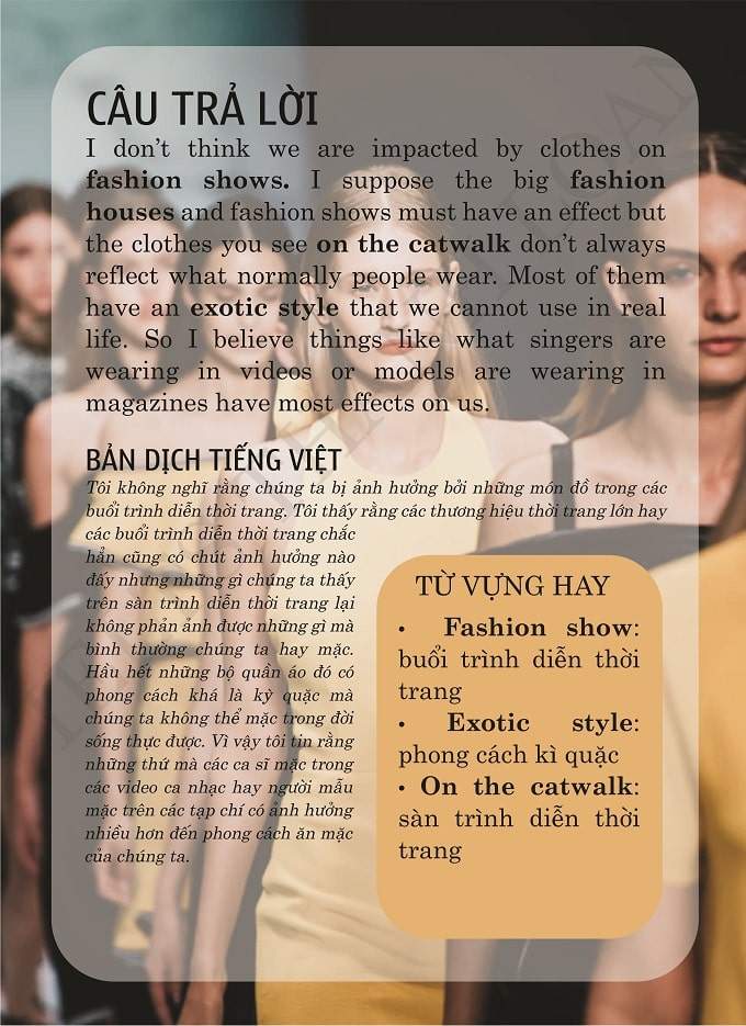 Do the fashion shows have impact on what we are wearing