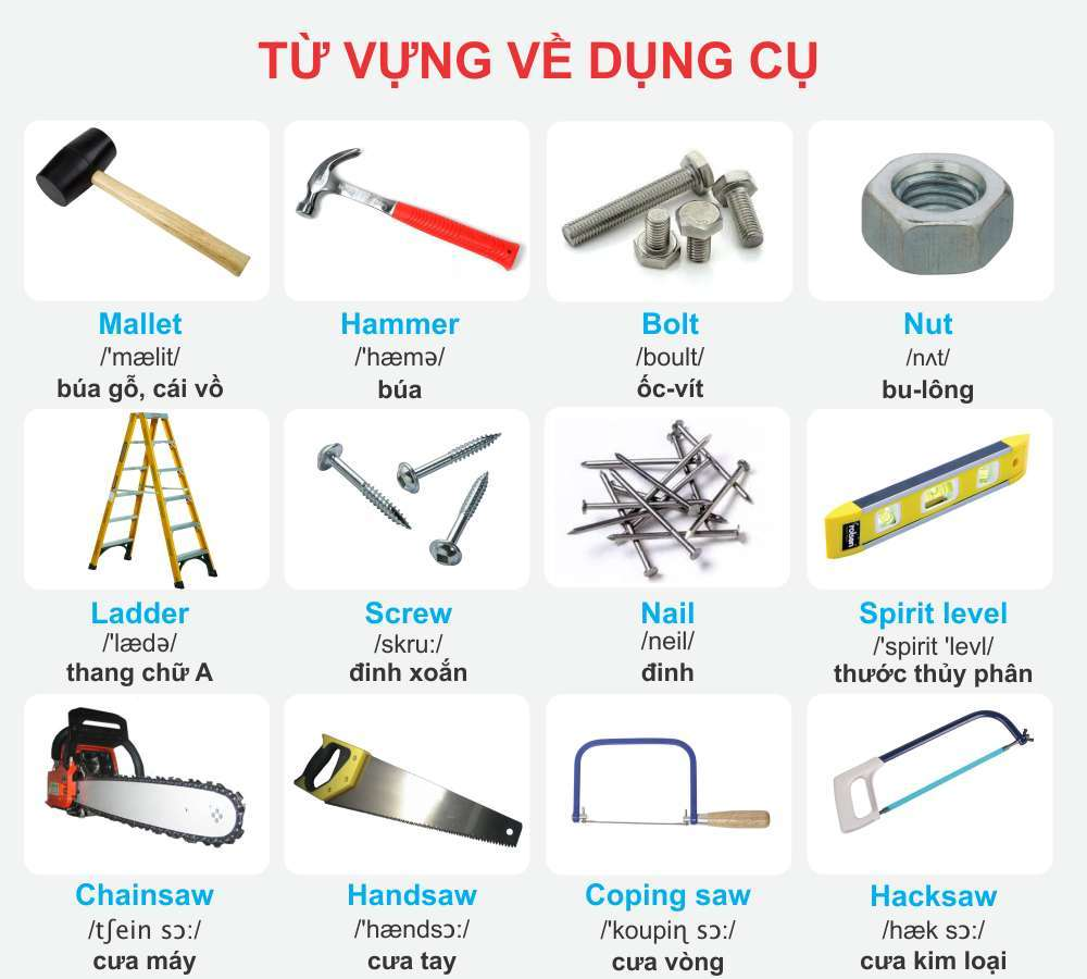 Từ vựng tiếng Anh về dụng cụ