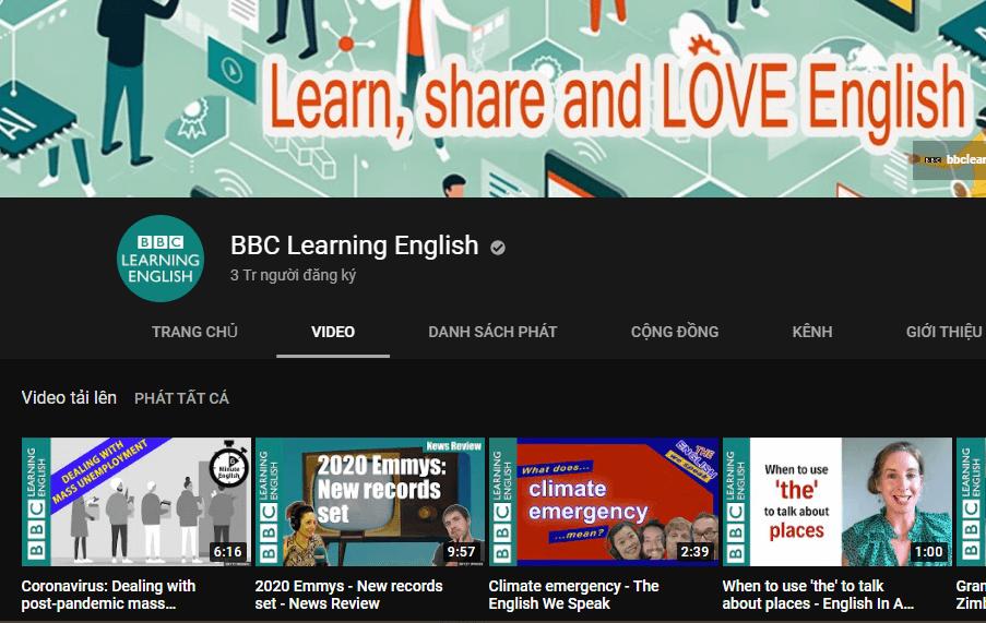 Kênh youtube BBC Learning English