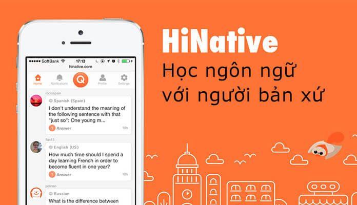 Phần mềm học tiếng Anh HiNative
