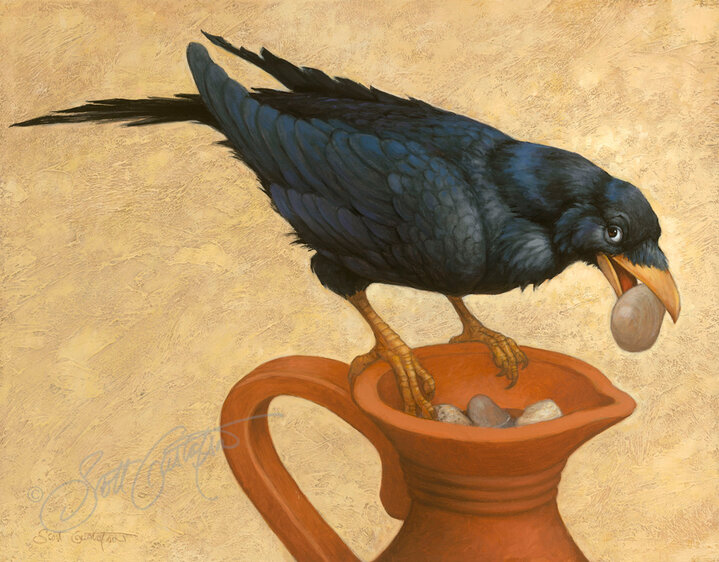 The crow and the vase