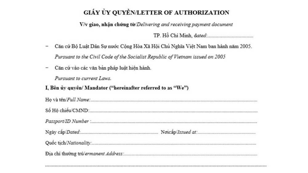 Mẫu giấy ủy quyền tiếng Anh song ngữ