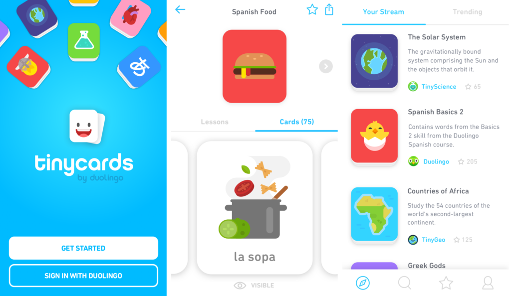 Ứng dụng flashcard tiếng Anh Tiny cards by Duolingo