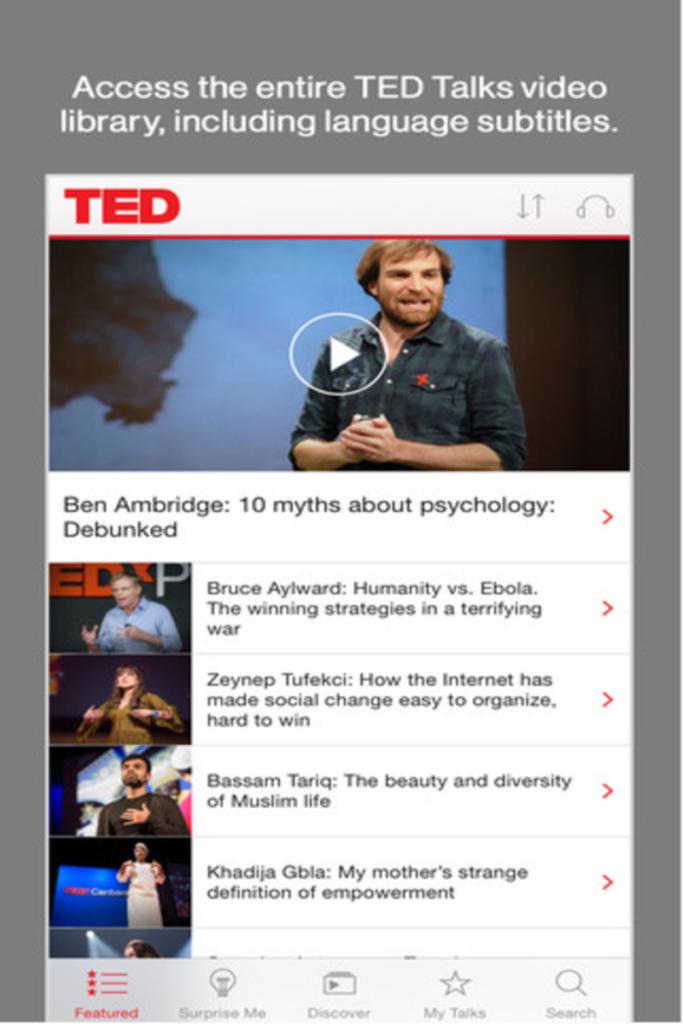 Phần mềm luyện nghe tiếng Anh TED